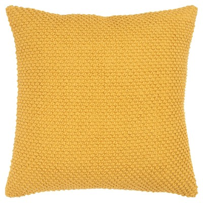 """20""""x20"""" Oversize Handloom Textured Square Throw Pillow Mustard - Rizzy Home"""