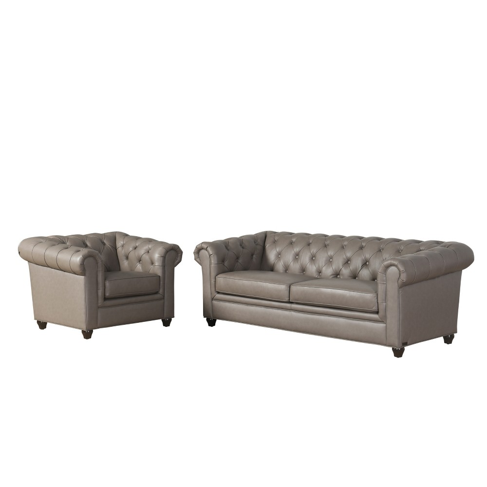 Image of 2pc Keswick Tufted Leather Sofa & Armchair Set Gray - Abbyson Living