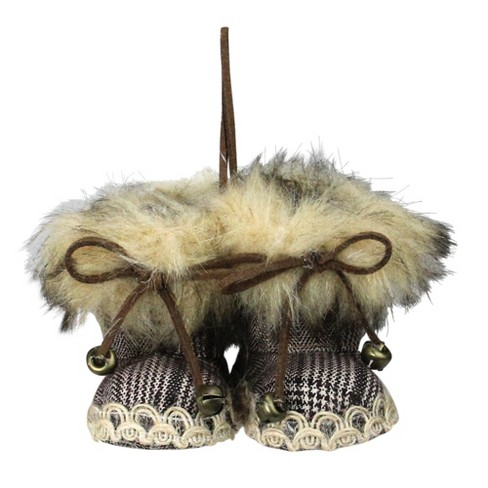 """Northlight 3"""" Pair of Faux Fur Knit Alaskan Style Booties Christmas Ornament - image 1 of 1"""