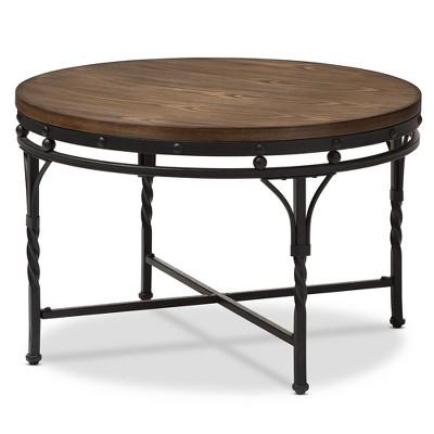 Austin Vintage Industrial Round Coffee Cocktail Occasional Table - Antique Bronze - Baxton Studio