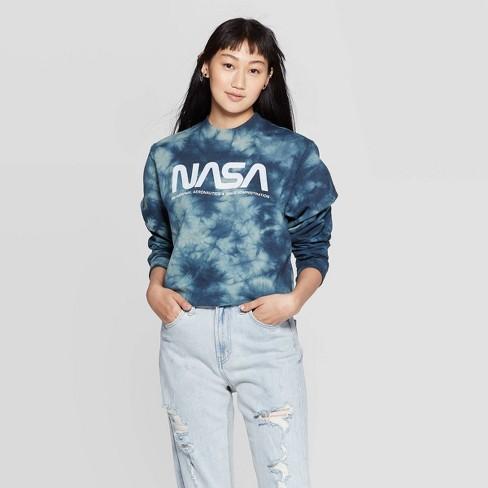 Women's NASA Long Sleeve Graphic Cropped Sweatshirt (Juniors') - Olive/Navy Wash - image 1 of 2