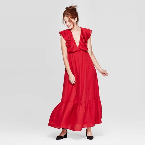 Women's Flutter Short Sleeve V-Neck Maxi Dress - A New Day™ Red L - image 1 of 3