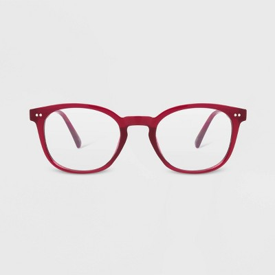 Women's Blue Light Filtering Round Glasses - A New Day™ Burgundy