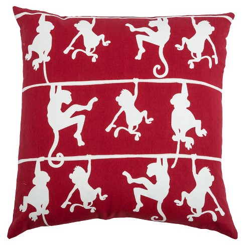 Swinging Monkeys Throw Pillow (20 x 20) - Rizzy Home - image 1 of 1