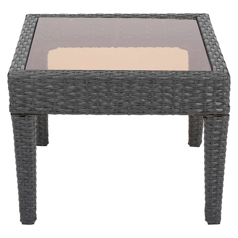 Antibes Wicker Patio Accent Table Gray Christopher Knight Home