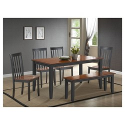 Bloomington 6 Piece Dining Set Black And Cherry - Boraam