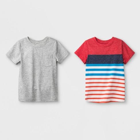 39ce43b87 Toddler Boys' 2pk Short Sleeve T-Shirt - Cat & Jack™ Red Stripe/Gray