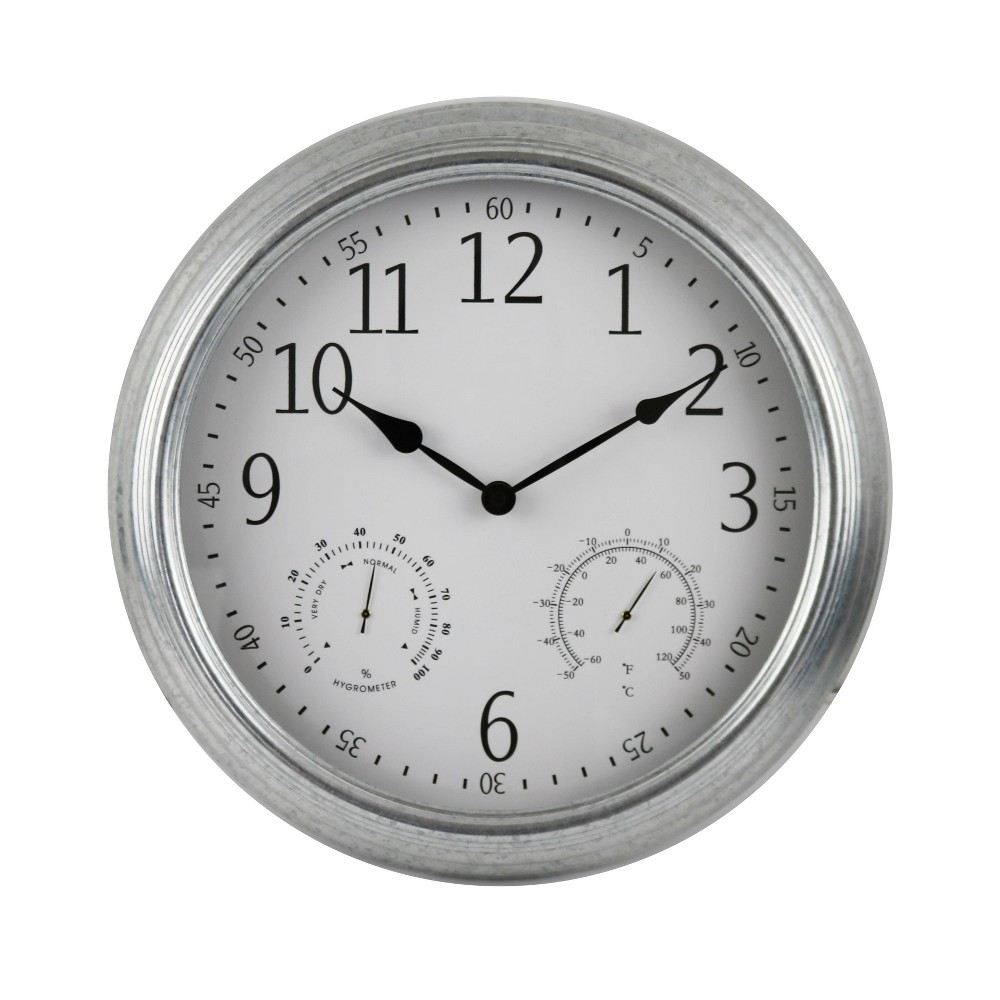 "Image of ""16"""" Indoor/Outdoor Metal Weather Wall Clock Gray - Backyard Expressions"""