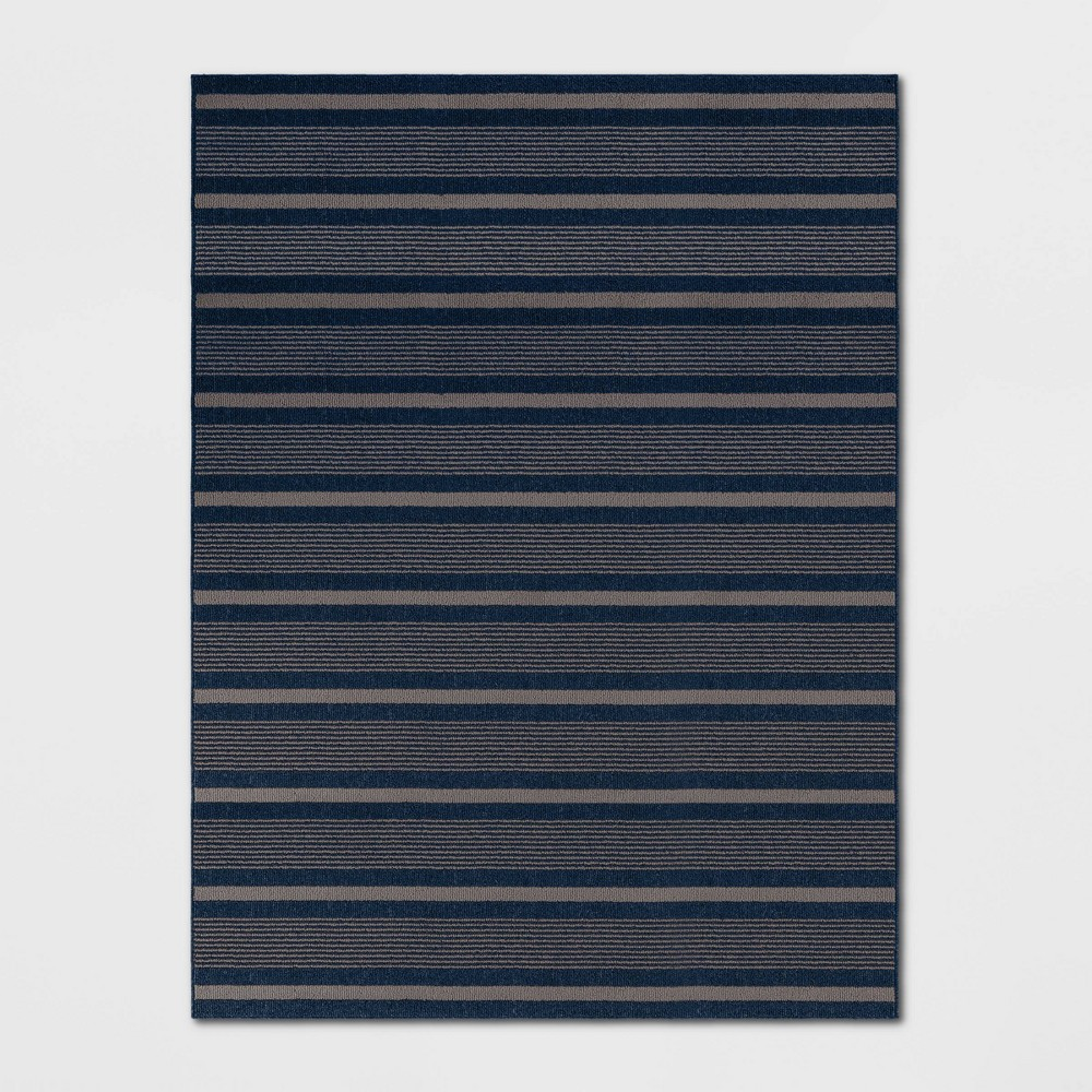 9'X12' Indoor/Outdoor Stripe Tufted Novelty Area Rug Navy (Blue) - Threshold