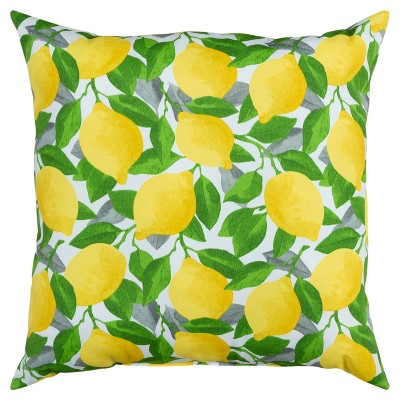 """22""""x22"""" Oversize Poly-Filled Lemons Indoor/Outdoor Square Throw Pillow Yellow - Rizzy Home"""