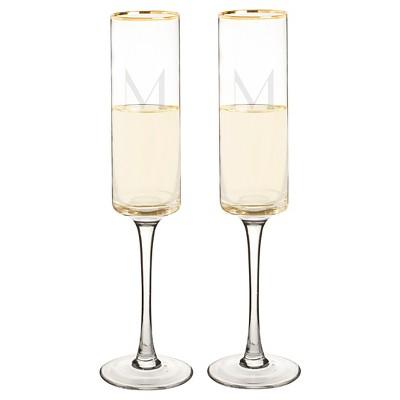 2ct Monogram Gold Rim Champagne Flute - M