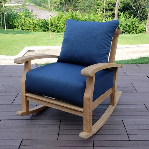 Caterina Teak Patio Rocking Chair with Cushion - Cambridge Casual - image 1 of 4