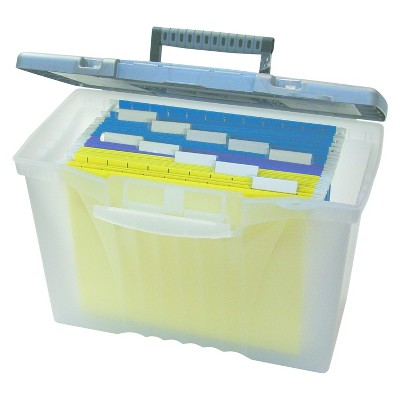 Storex® Portable File Storage Box with Organizer Lid, Letter/Legal, Clear