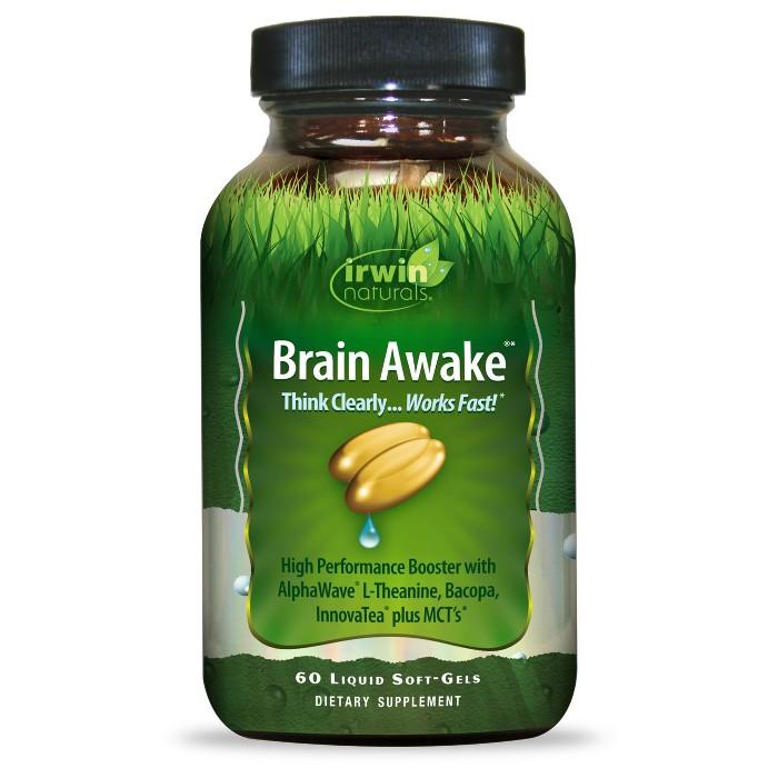 irwin naturals Brain Awake Dietary Supplement Liquid Soft-Gels - 60ct - image 1 of 1