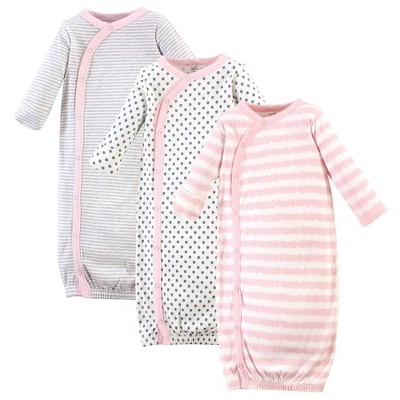 Touched by Nature Baby Girl Organic Cotton Kimono Long-Sleeve Gowns 3pk, Pink Gray Scribble