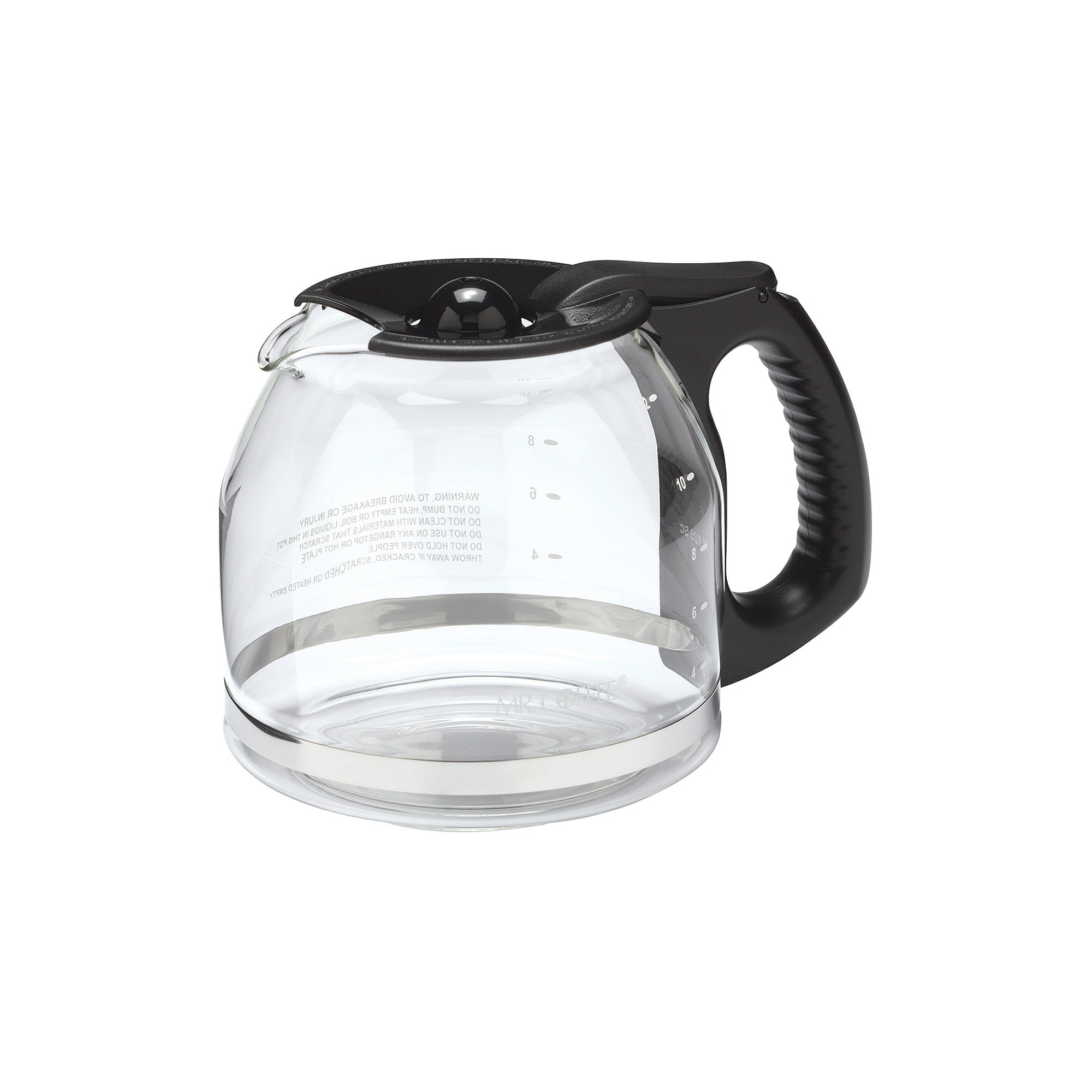 Mr. Coffee 12 Cup Glass Carafe - Black PLD12-RB, White