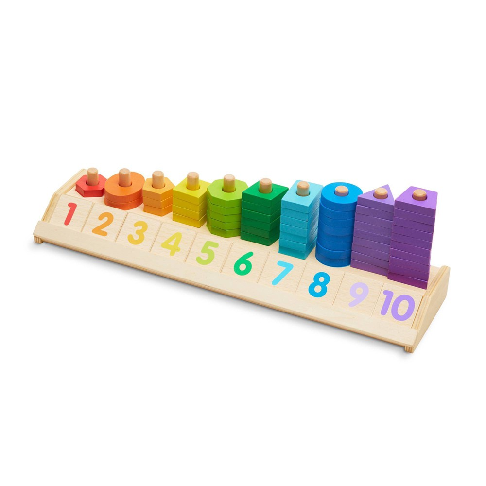 Melissa 38 Doug Counting Shape Stacker Wooden Educational Toy With 55 Shapes And 10 Number Tiles
