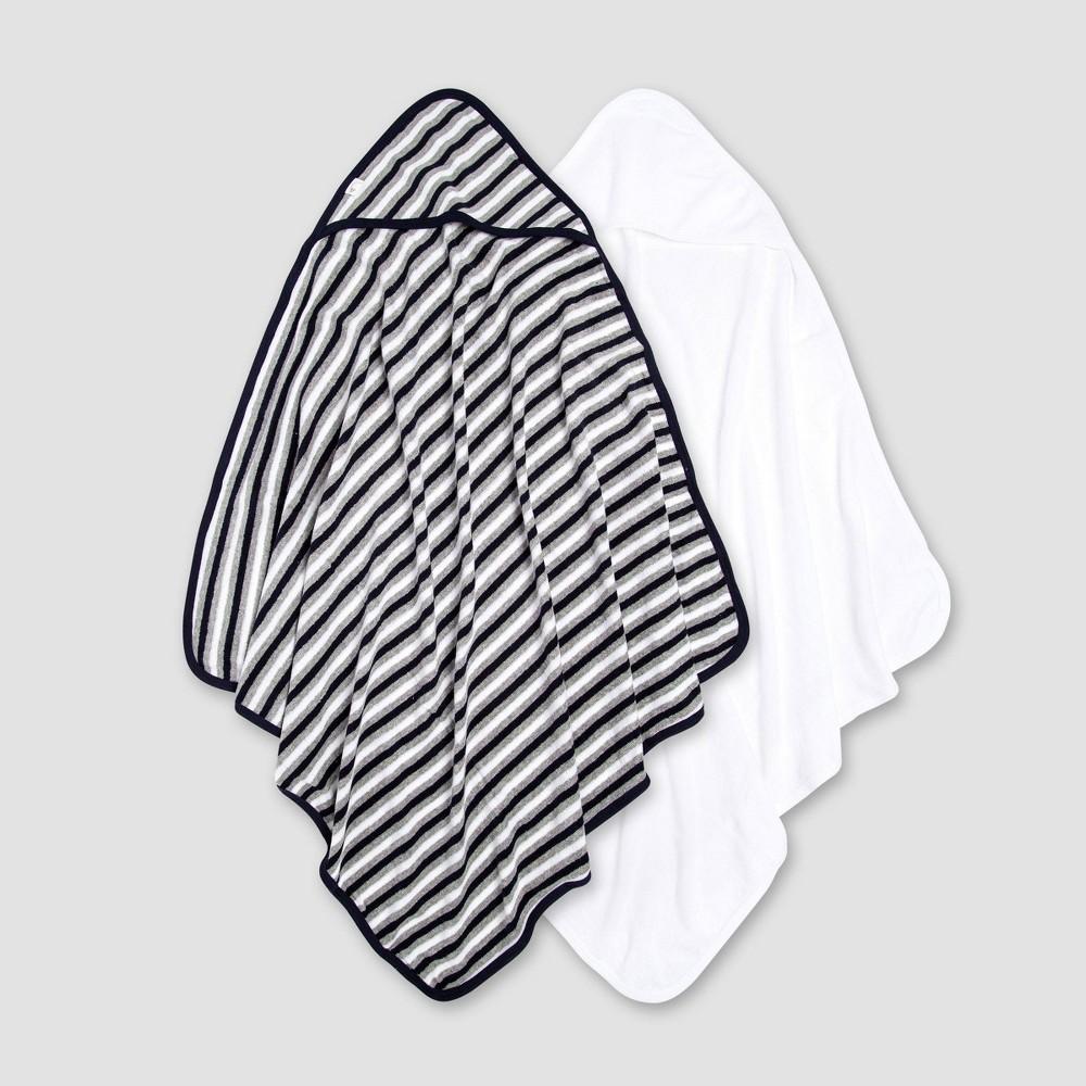 Image of Burt's Bees Baby Baby Boys' 2pk Hooded Bath Towel - White/Navy Blue