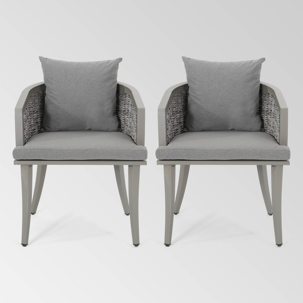 Pebble Set Of 2 Wicker Boho Club Chairs Gray Christopher Knight Home
