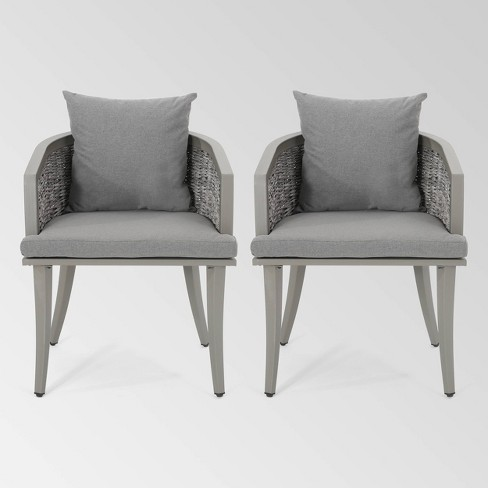 Pebble Set of 2 Wicker Boho Club Chairs - Gray - Christopher Knight Home - image 1 of 4