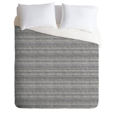 King Little Arrow Design Co Dash Dot Stripes Comforter Set - Gray Deny Designs
