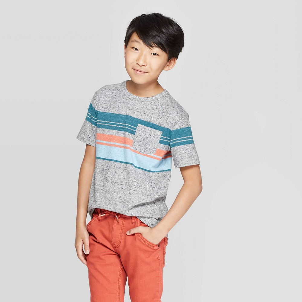 petiteBoys' Short Sleeve Striped T-Shirt - Cat & Jack Gray/Orange XL, Boy's was $7.0 now $4.2 (40.0% off)