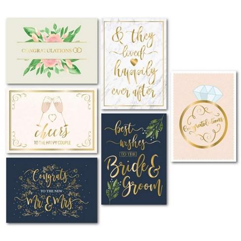 "Wedding Greeting Cards - 24-Pack Wedding Congratulations Cards Bulk, Gold Foil Floral Design, Envelopes, Mr and Mrs, 5x7"" - image 1 of 3"