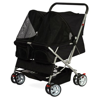 Paws & Pals Twin Carriage Pet Stroller - Black