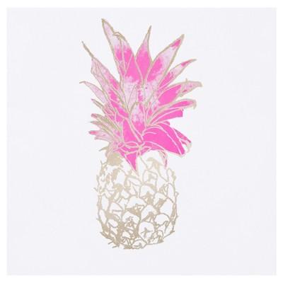 Pineapple Foil Embellished Canvas - Gold