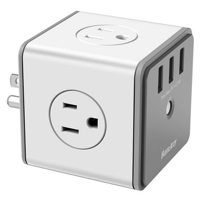 Huntkey 2 x SMC007 Surge Protecting Multiport Electrical Outlet Extender/Adapter Cube with 4 AC Plugs and 3 USB Charger Ports, White/Grey (2 Pack)