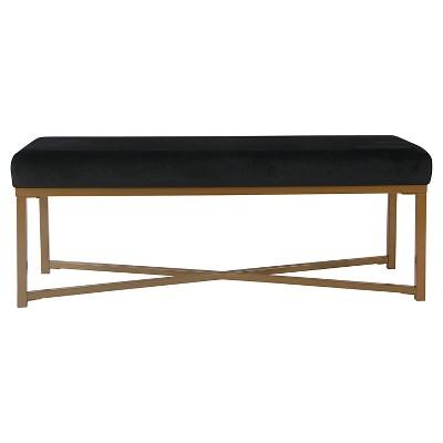 Velvet Rectangle Bench - Black - HomePop