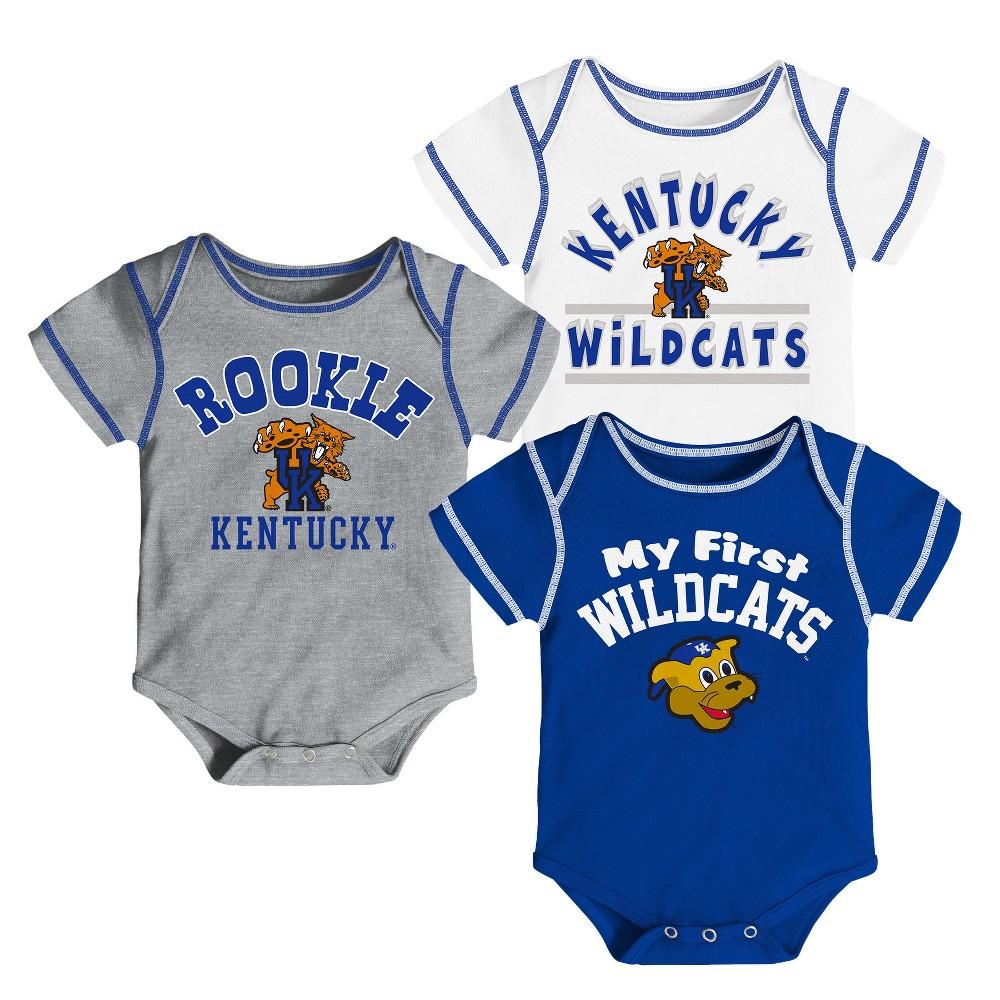 Kentucky Wildcats Baby Boys' 3pk Bodysuit - 3-6M, Multicolored