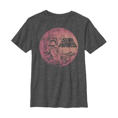 Boy's Star Wars Boba Fett Retro Circle T-Shirt