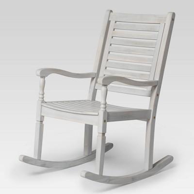 Bamberg Transitional Acacia Wood Outdoor Rocking Chair - Saracina Home