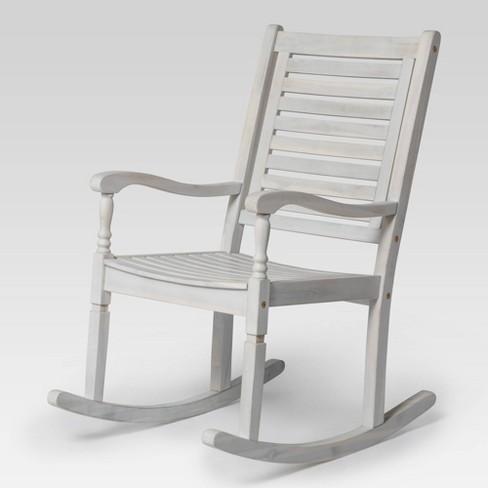 Acacia Wood Patio Rocking Chair White