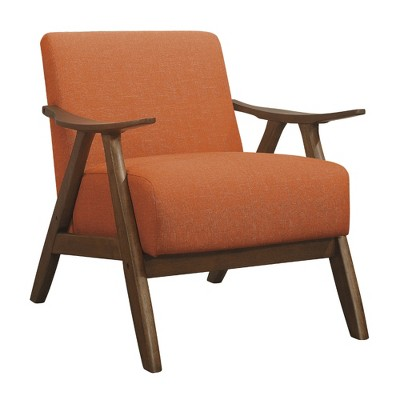 Lexicon Damala Collection Retro Inspired Wood Frame Accent Chair Seat with Polyester Fabric for Living Rooms and Offices, Orange