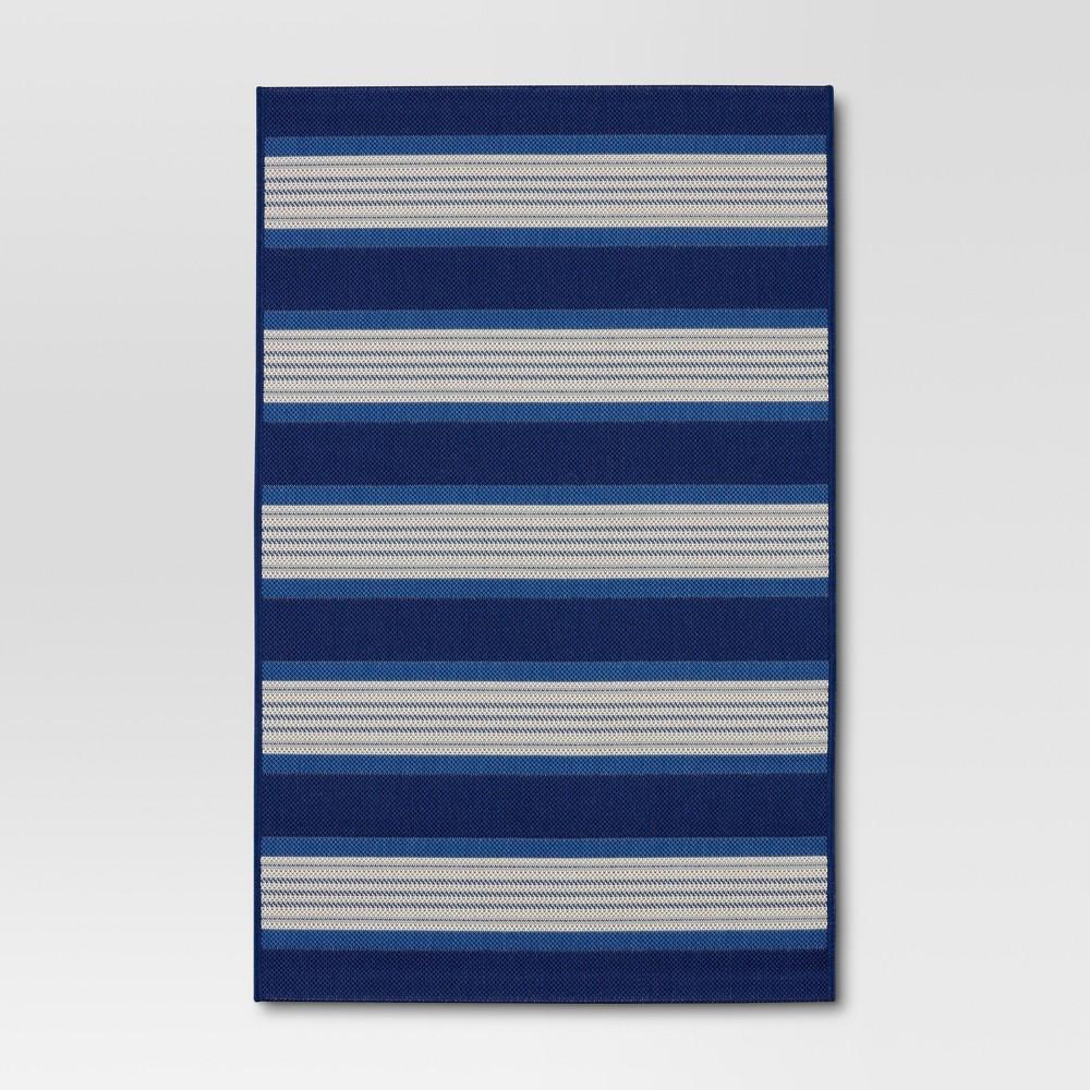 6' x 9' Bold Stripe Outdoor Rug Blue - Threshold, Blue Off-White