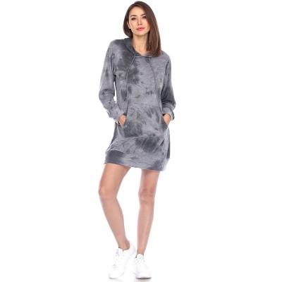 Women's Tie-Dye Hoodie Sweatshirt Dress - White Mark