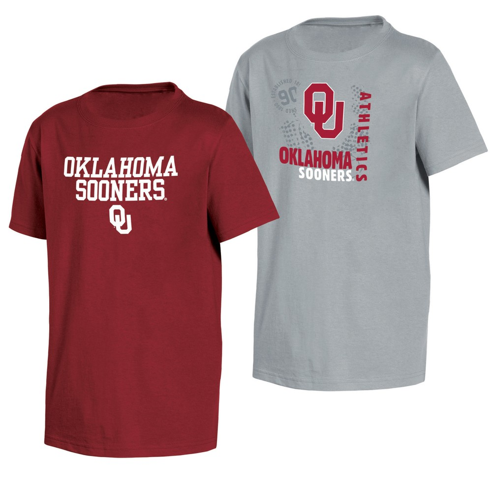 Oklahoma Sooners Double Trouble Toddler Short Sleeve 2pk T-Shirts 3T, Toddler Boy's, Multicolored