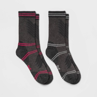 Women's Midweight Cushioned Fine Ribbed Wool Blend 2pk Crew Socks - All in Motion™ 4-10