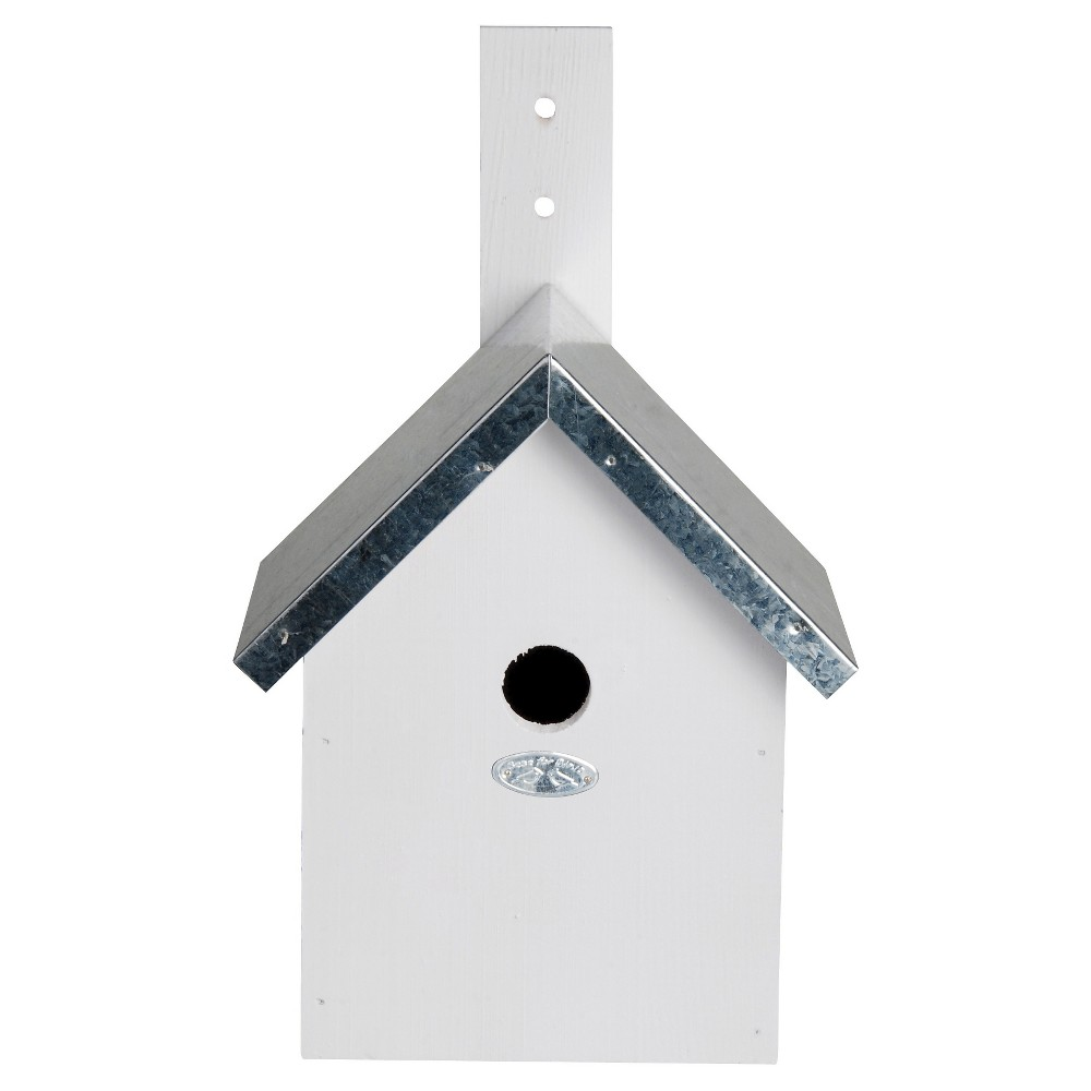 "Image of ""7.6"""" Birdhouse - White - Cement - Esschert Design, Gray"""
