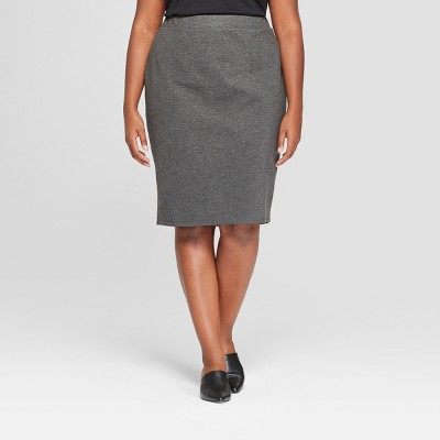 Women's Plus Size Ponte Midi Pencil Skirt - Ava & Viv™