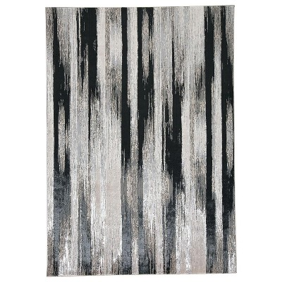 Feizy Micah Contemporary Abstract Black Area Rug