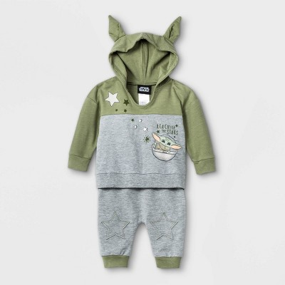 Baby Boys' 2pk Star Wars Baby Yoda French Terry Long Sleeve Top and Bottom Set - Olive Green