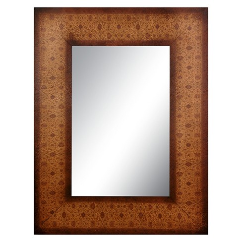 Rectangle Olde-Worlde European Style Decorative Wall Mirror Brown - Oriental Furniture - image 1 of 3