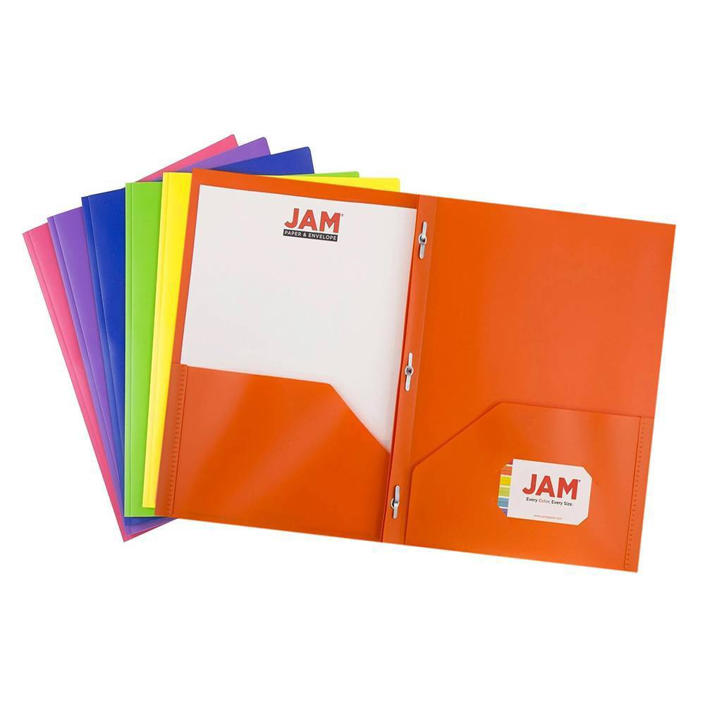 Image of JAM Paper 6pk 2 Pocket School POP Plastic Folder with Metal Prongs Fastener Clasps - Assorted Primary Colors