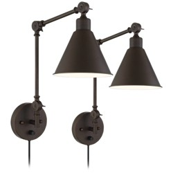 360 Lighting Modern Industrial Up Down Swing Arm Wall Lights Set of 2 Lamps Dark Bronze Sconce for Bedroom Reading