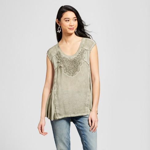 Women S Crochet Oil Wash Tank Knox Rose Olive Target