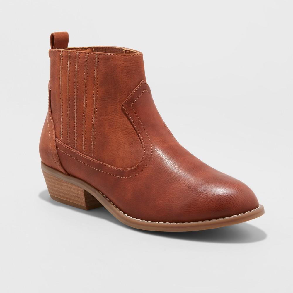 Women's Western Wide Width Ankle Boots - Universal Thread Cognac (Red) 5W, Size: 5 Wide