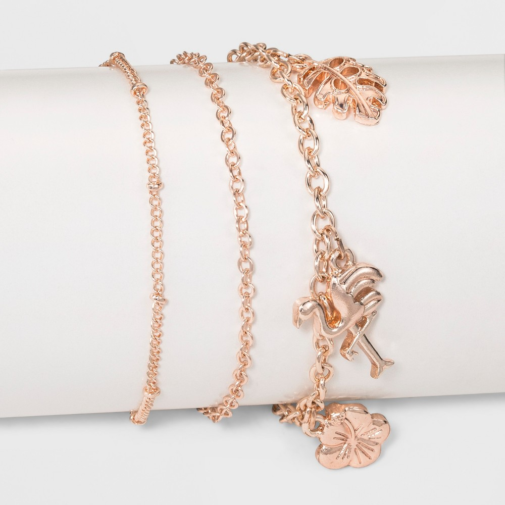 Three Piece Set with Leaf, Flower and Flamingo Charm Anklet - Rose Gold
